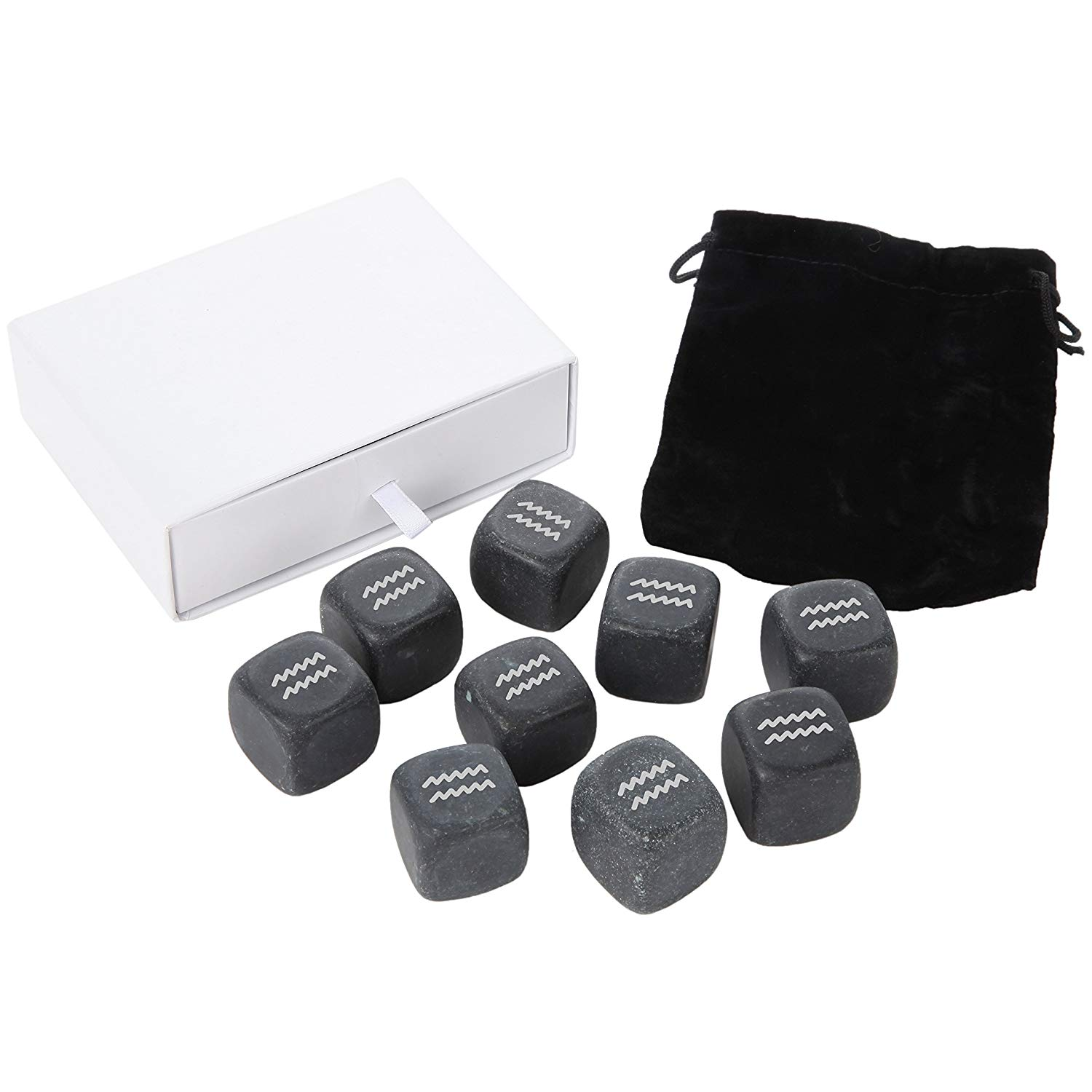 Get Quotations · Aquarius Whiskey Stones Set - Granite Chilling Stones For Whiskey And Other Liquor - Ideal Gifts