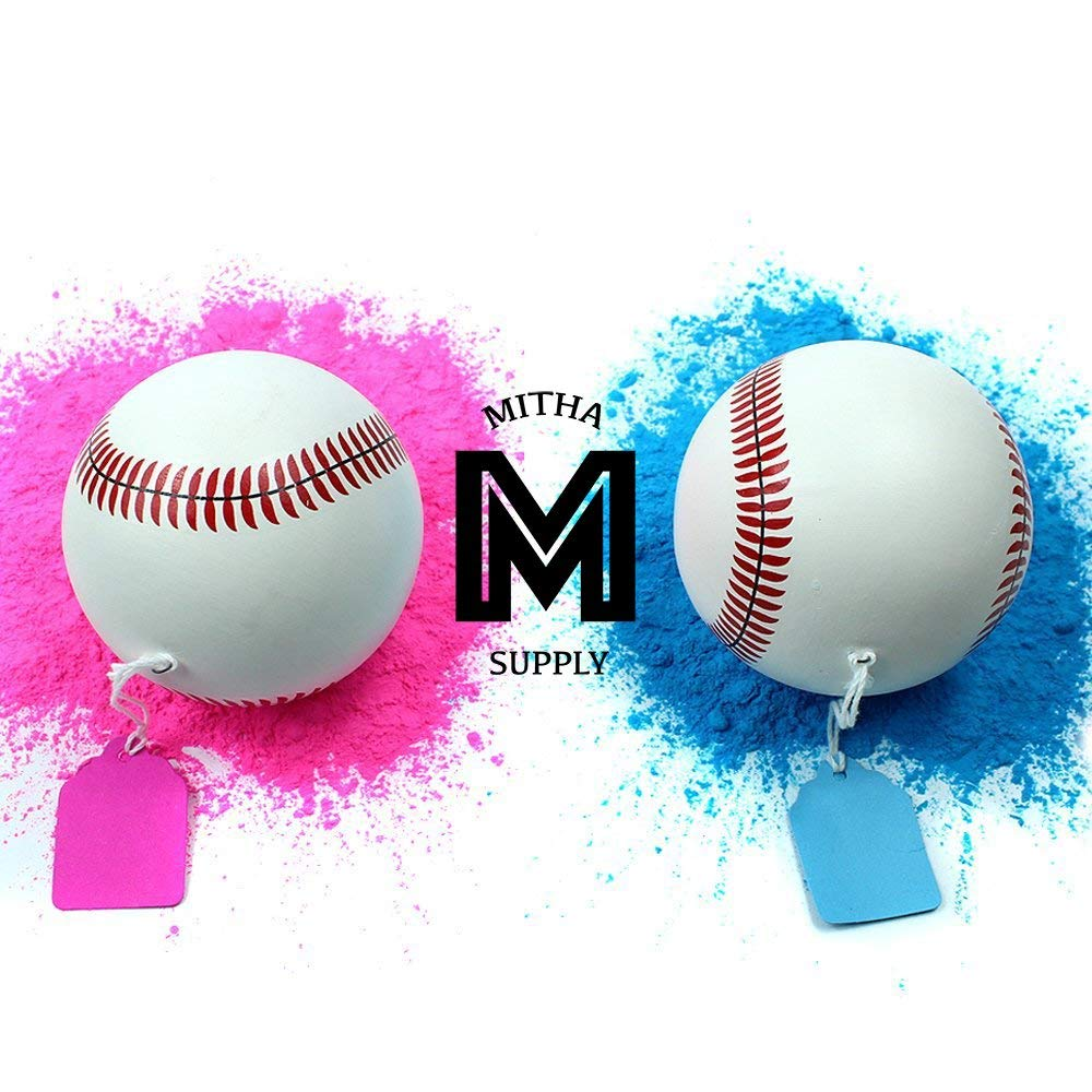 Mitha Supply Premium Gender Reveal Baseball Set | Exploding Baseballs | Baby Shower Gender Reveal Party Supplies | Team Boy Girl |