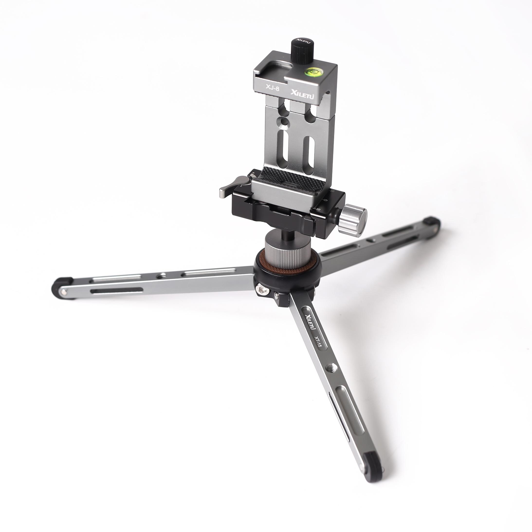 XILETU MT26+XT15 Mini Desktop Camera Phone Tripod Stand With Aluminum Ball Head Phone Clip