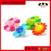 Hot selling beautiful flower design wooden spinning top toy