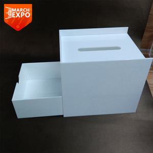 Wholesale white square funny mini acrylic tissue box with drawer