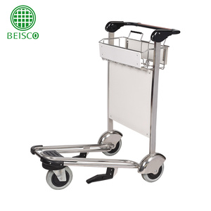 Stainless Steel Airport Trolley/Airport Luggage Trolley with Three Wheels/Baggage Trolley with Brake