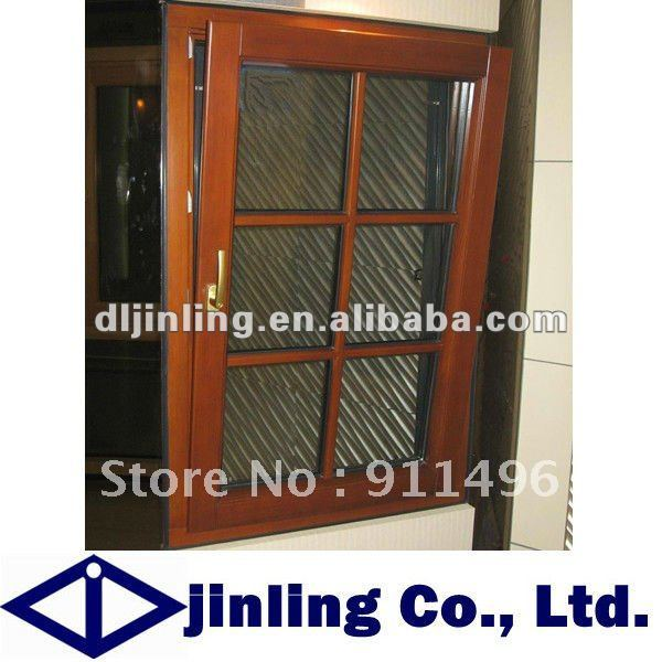 Solid Wood Frame Windows Grill Design Wood Window
