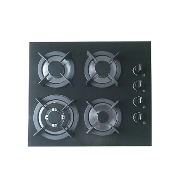 SG45904 Four Burner Built-in <strong>Gas</strong> on Glass Hob 60cm - Enamelled Trivets