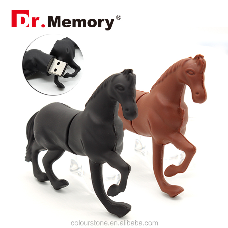 Dr.memory Cartoon three colors horse pendrive usb flash drive real capacity cute horse pen drive 4g 8g 16g 32G flash memory