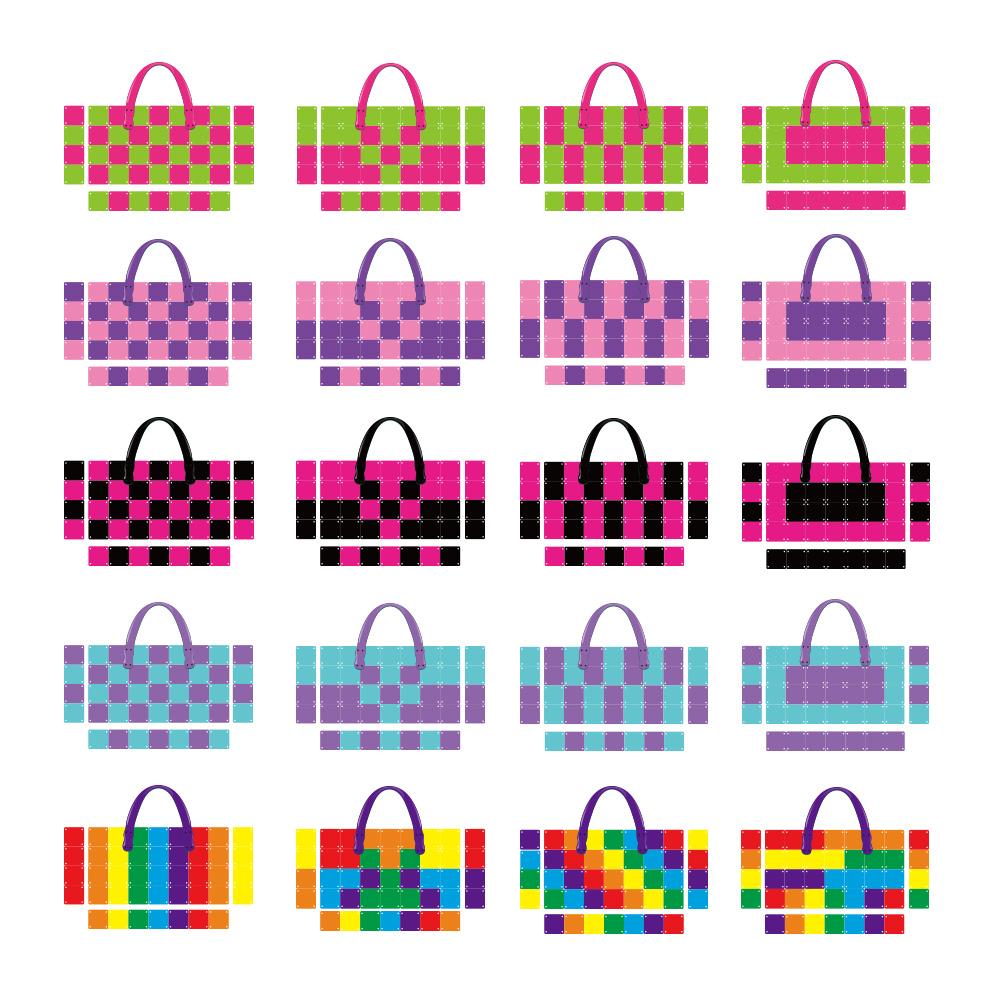 2017 hot sell education puzzle toy mosaic rainbow handbag for girls