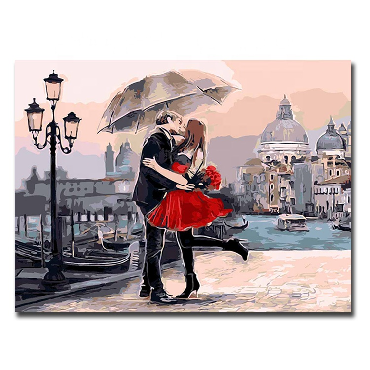 Unframed Hand Painted Canvas Wall Art Decor DIY Hand Oil Painting Kiss Love Painted By Number