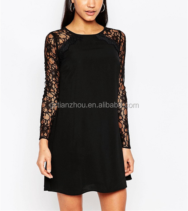 Hot Sale Long Raglan Lace Sleeves Swing Dress Black Lace Sleeve Round Neck Casual Dress