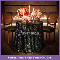 SQN#63 cheap 9mm black round sequin fabric beer tablecloth