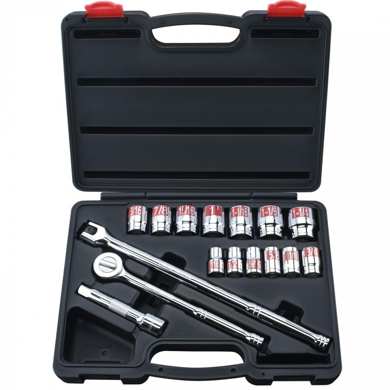 "ESKALEX>>17 Pc 1/2"" Drive Hi-Viz Socket Set SAE W/Ratchet & Breaker Bar Auto Tools And Standard: 7/16, 1/2, 9/16, 5/8, 11/16, 3/4, 13/16, 7/8, 15/16, 1, 1-1/16, 1-1/8, 1-1/4"" Extension: 5"" 1- Ratc"