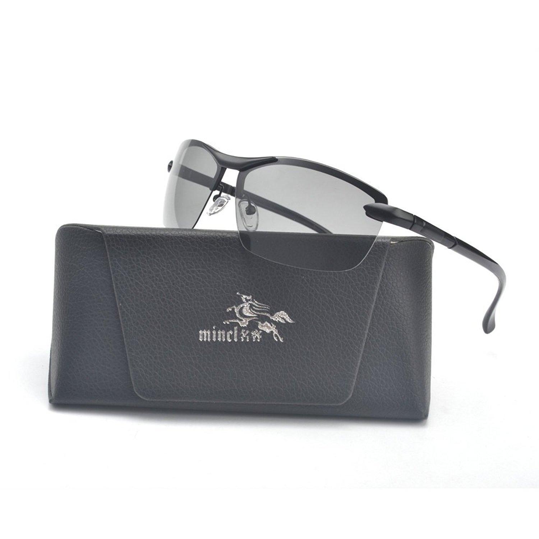 c4bab8cc276 Get Quotations · MINCL Polarized Photochromic Lens Sunglasses Semi Frame  Photosensitive Sunglasses for Men