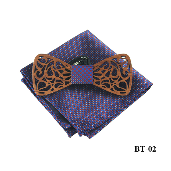 All kinds of Patterns Creative Classic Customed Bowties Wholesale Men's Neckwear and Pocket Set Wood Bow Tie