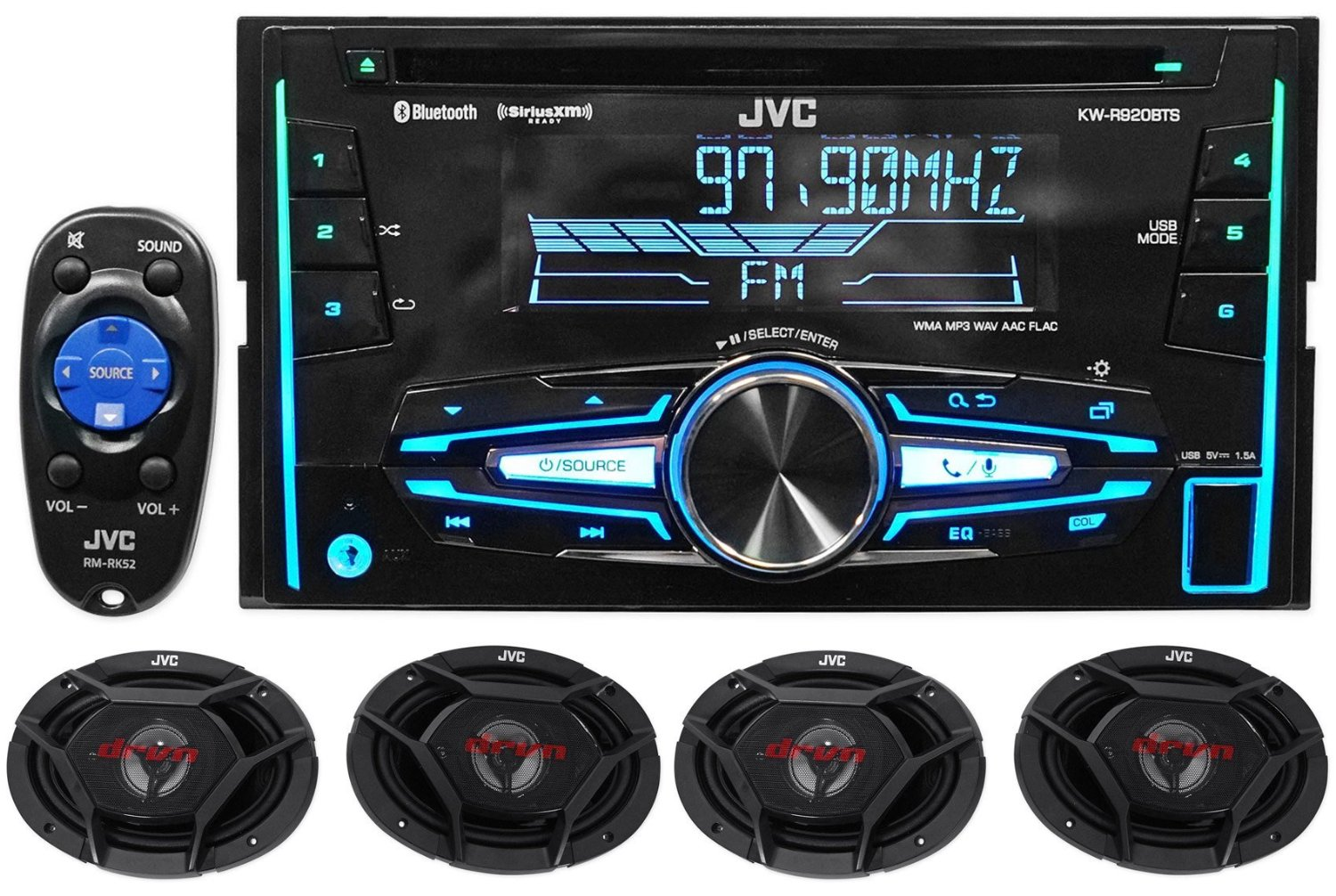 """Package: JVC KW-R920BTS Double-Din In-Dash Stereo/CD Player/Receiver With Bluetooth And USB Capabilities + (2) Pair of JVC CS-DR6930 3-Way Car Speakers Totaling 2000 Watt Measure 6""""X9"""""""