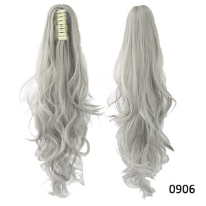 grey color spring curly claw clip ponytail hairpieces