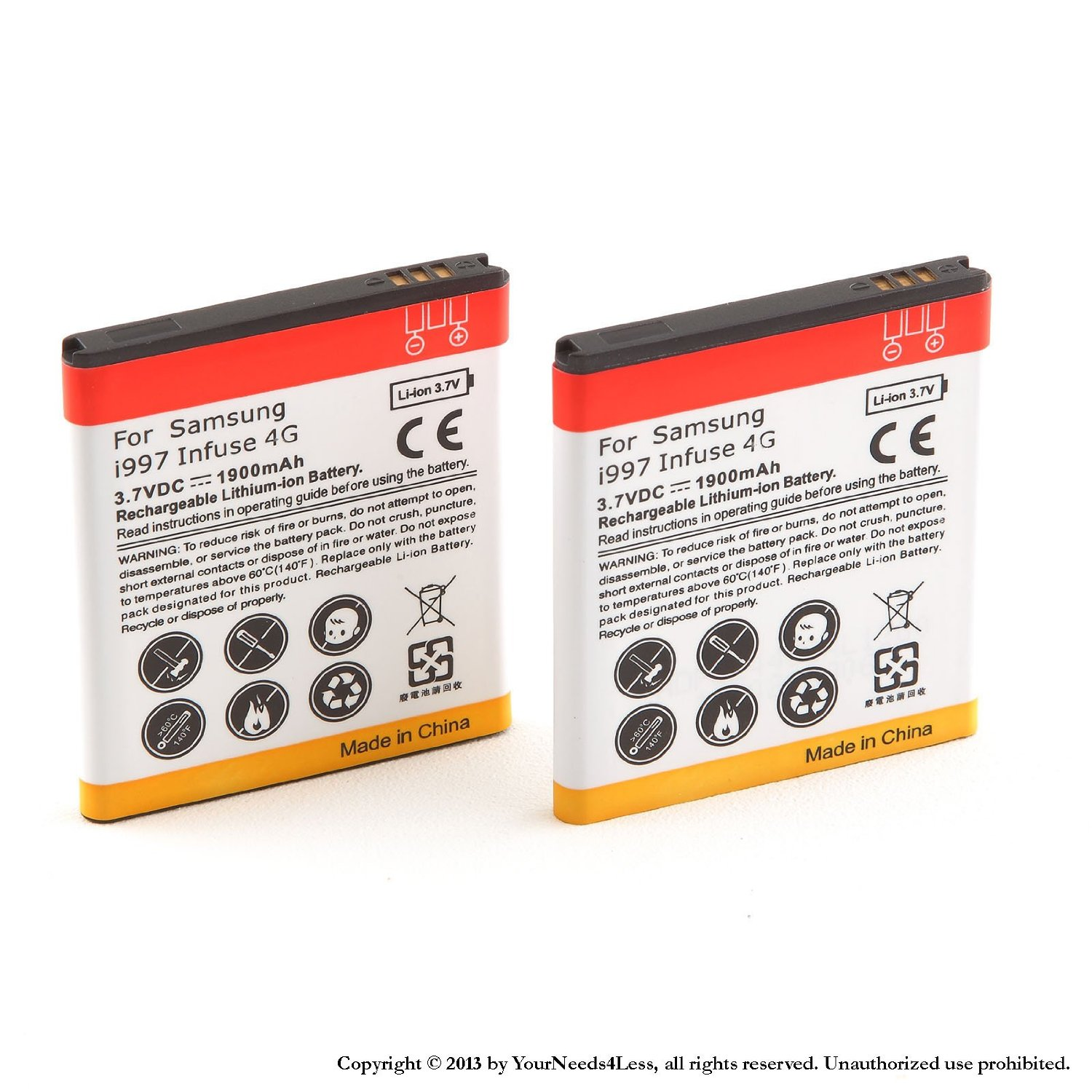 YN4L 2 X 1900mAh Replacement Batteries for Samsung Infuse 4G i997