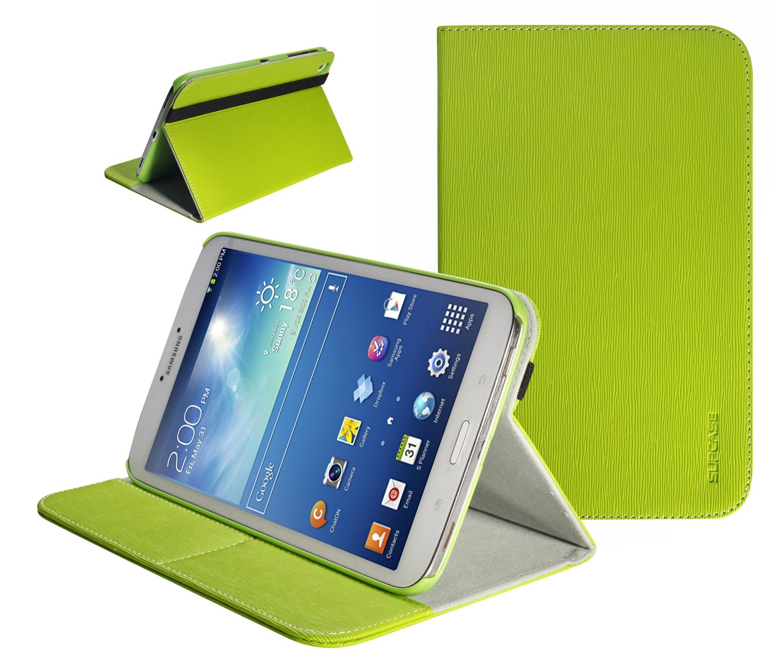 SUPCASE Samsung Galaxy Tab 3 8.0 inch Tablet Slim Hard Shell Leather Case (Green) - Support Auto Wake/Sleep (Smart Cover Function), Multi-Angle Viewing, Business Card Holder, Not Fit Samsung Galaxy Note 8.0 inch Tablet/Samsung Galaxy Tab 3 7.0 inch and 10.1 inch Tablet