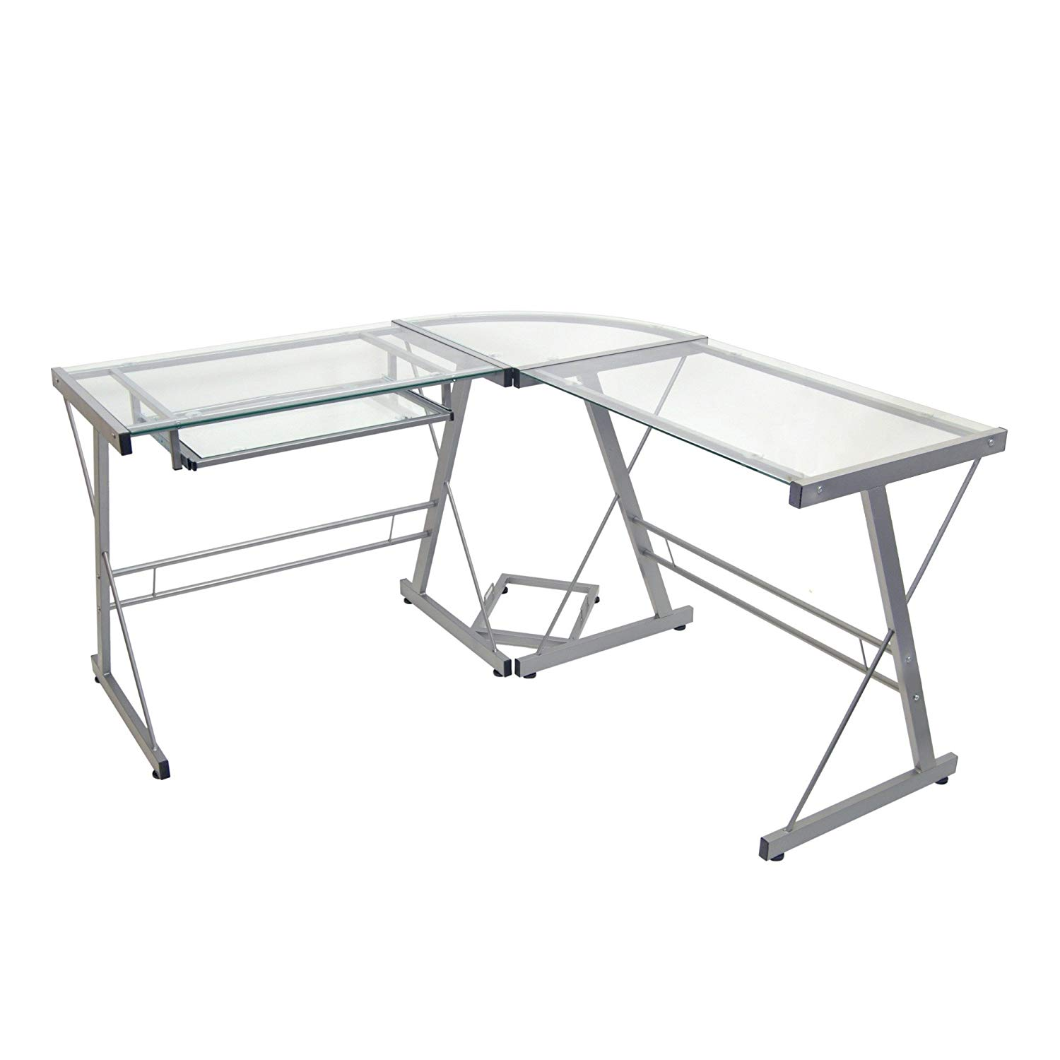 MyEasyShopping Hardy L-Shape Glass Corner Computer Desk L Corner Computer Desk Glass Office Shaped Workstation Table Laptop Shape