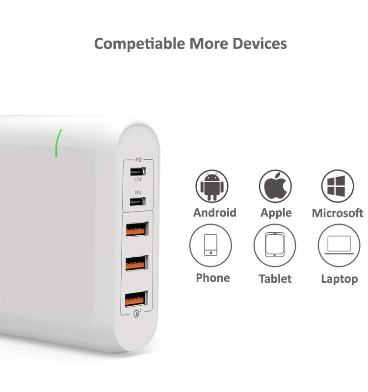 2019 High Output 100W 5 Ports Multiple USB C Charger Power Adapter with 18W and 60 W Power Delivery Type C Wall Charger White
