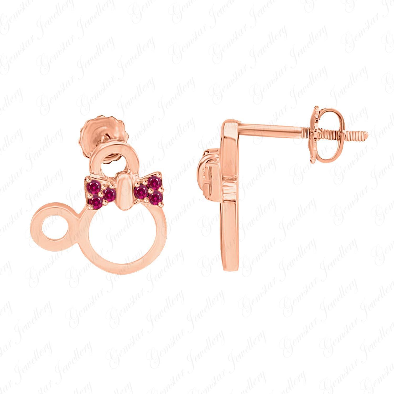 Gemstone Jewellery Round Tanzanite 925 Silver 14k Rose Gold Finishing Heart Minnie Mouse Stud Earrings