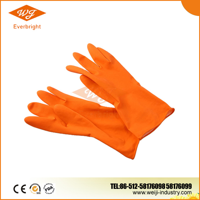 Long sleeve unlined colored latex household gloves
