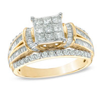 Princess Choice 1-1/4 Carat 10k White Gold Diamond How To Measure Ring Size At Home Pear Shaped Engagement Three Stone Rings