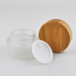 5g 15g 30g 50g 100g clear frosted empty glass container wooden cosmetic jar for face cream