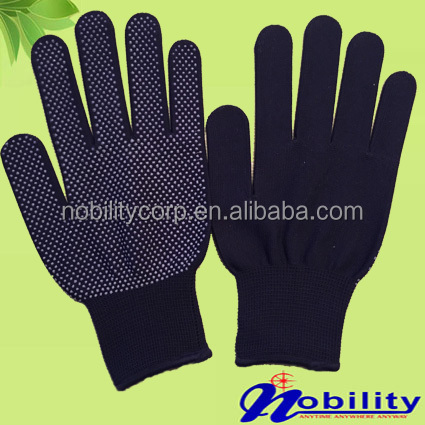 13 Guage Polyester dotted Glove nylon PVC/rubber Dots grip Glove