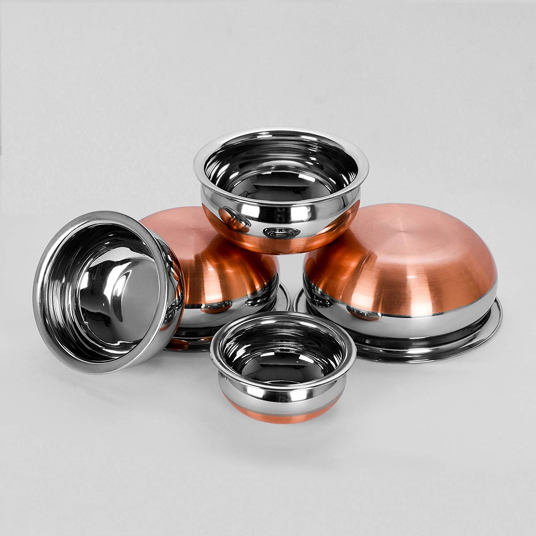 Sumeet Stainless Steel Copper Bottom Prabhu Chetty/Cookware / Serveware/Handi / Pot/Cook & Serve - 5 Pcs Set (1 No 0.5L, 1 No 1L, 1 No 1.3L, 1 No 1.9L, 1 No 2.7L Without Lid)