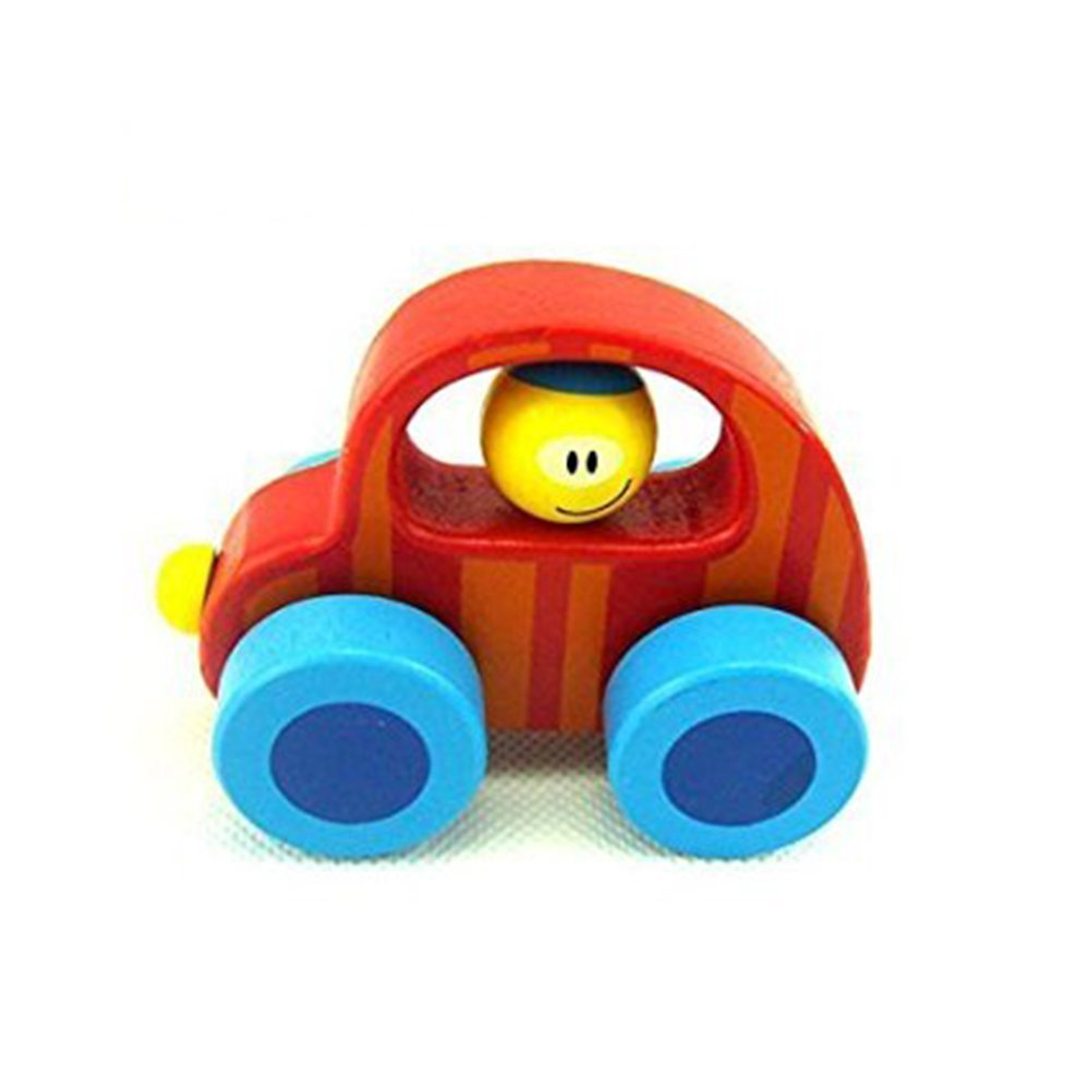 LUCKSTAR(TM) Educational Improvement Early Education Toy Push Around Car Mini Van Baby Wooden Mini Cute Cartoon Car Wood Inertia Toy Car (Red)