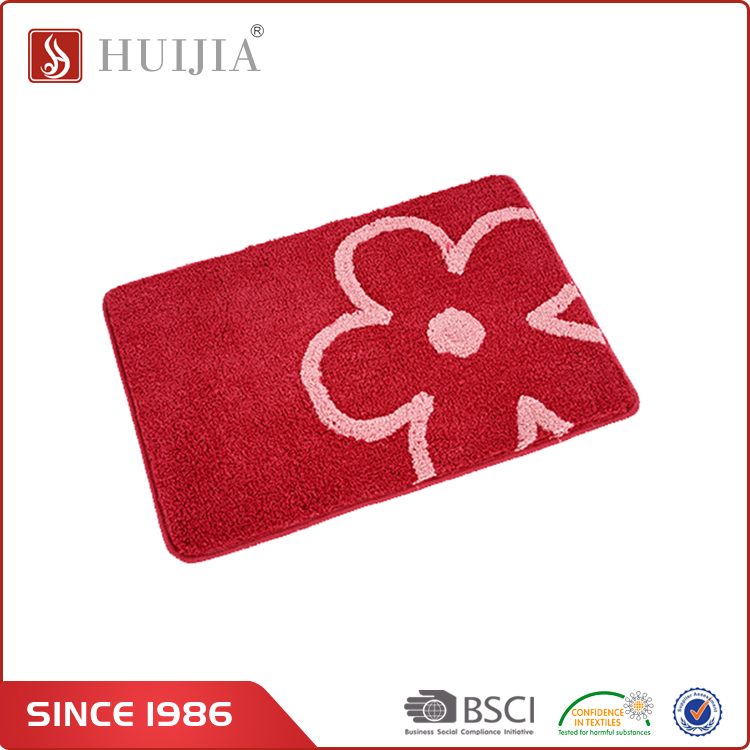 HUIJIA China Wholesale Market High Quality Commercial Red Flower Shape Logo Mat Carpet