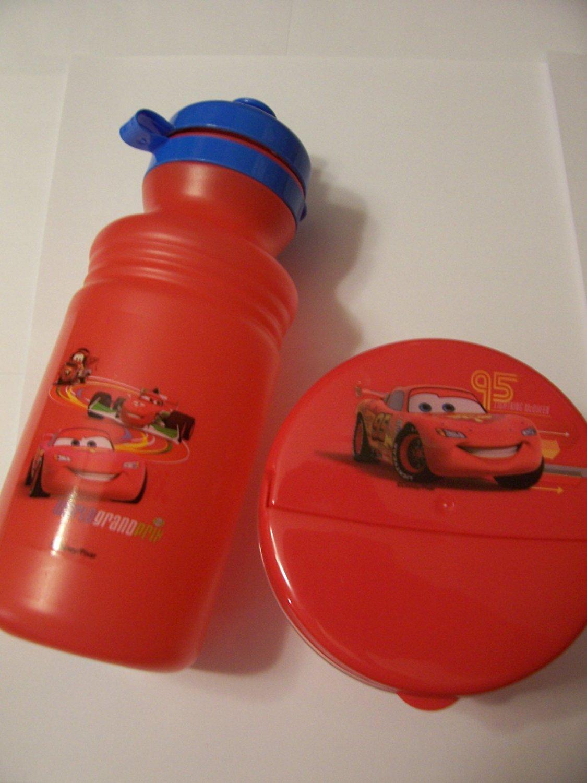 Disney Cars 2 Piece Snack & Storage Set ~ Sports Bottle, Snack Container (World Grand Prix)
