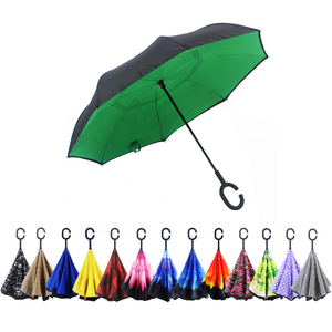 New Travel green Windproof UV Protection Big Straight Inverted Umbrella With C-Shaped Handle for Car Rain Outdoor