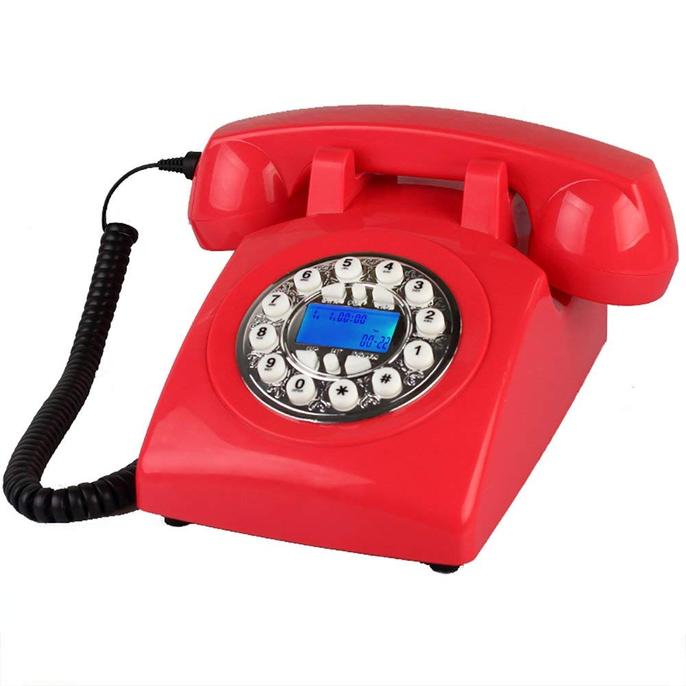 Designer Retro Phone/Rotary Dial Telephone/Retro Style Phone/Vintage Telephone/Classic Desk Phone (Color : Silver Button)