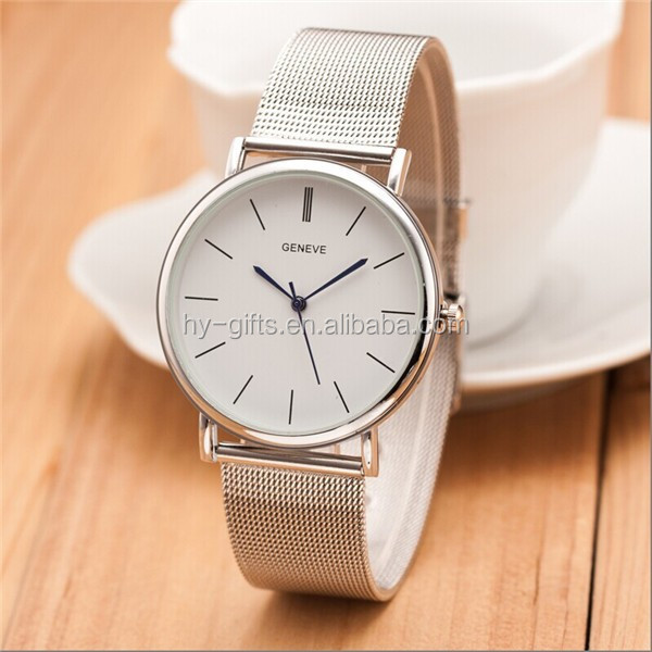 Hot selling casual and simple men quartz wrist watch with stainless steel net band