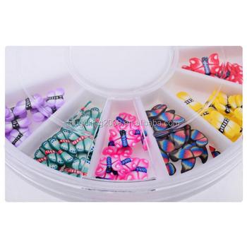 Vlinder Zachte Keramische Candy Cane Stukken Nail Art Designs