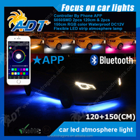 4pcs 7 Color SMD 5050 Strips Neon LED Underbody Under Car Light Kit+Remote+APP Activate effect