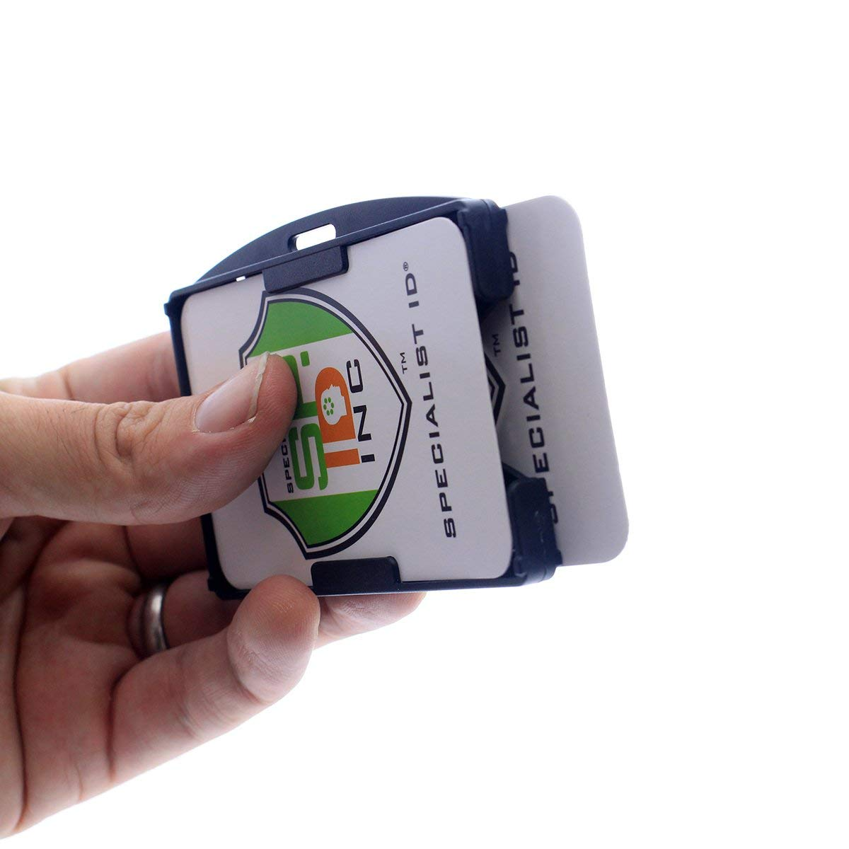 Specialist ID Black Dual Rigid Hard Plastic Card ID Badge Holder ,HOLDS 2 CARDS