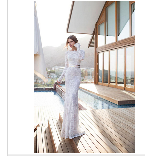 Julie Vino Sheath Wedding Dresses Bateau Long Sleeve Covered Button Floor-Length Lace Sash Simple Style Bridal Gowns Elegant WJ