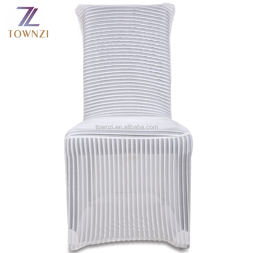 2017 Hot Selling Wholesale Cheap Polyester Stripe Lycra Spandex Stripe Chair Cover Striped Ruffled Wedding Chair Cover