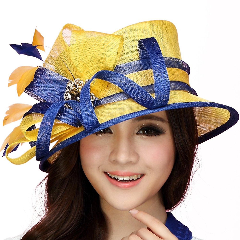 dfd476301b7 Get Quotations · June s Young Women Hats Summer Big Sinamay Handmade Top  Crown