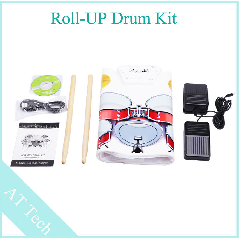 hot sale 3pcs lot electric drum usb roll up drum kit with 2 foot pedal drums electronic contains. Black Bedroom Furniture Sets. Home Design Ideas