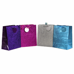Shopping Party Custom Packaging Rope Glitter Paper Gift Bag Handle