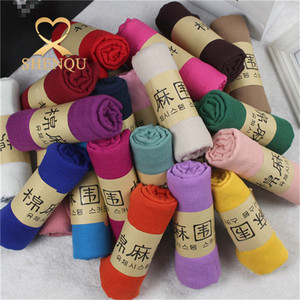 180*80 size Cotton and linen woman shawl scarf plain cotton scarf
