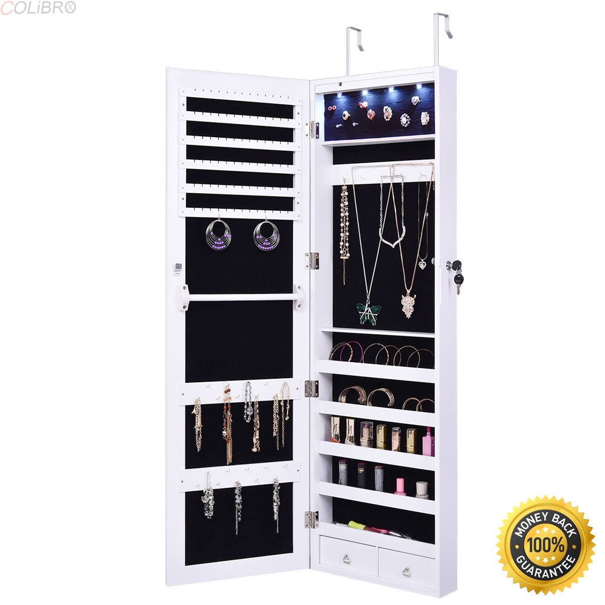 COLIBROX--Door Mount Mirrored Jewelry Cabinet Lockable Armoire Organizer w/LED Lights New,locking jewelry armoire,locking jewelry armoire floor standing,jewelry box for necklaces,jewelry gift box