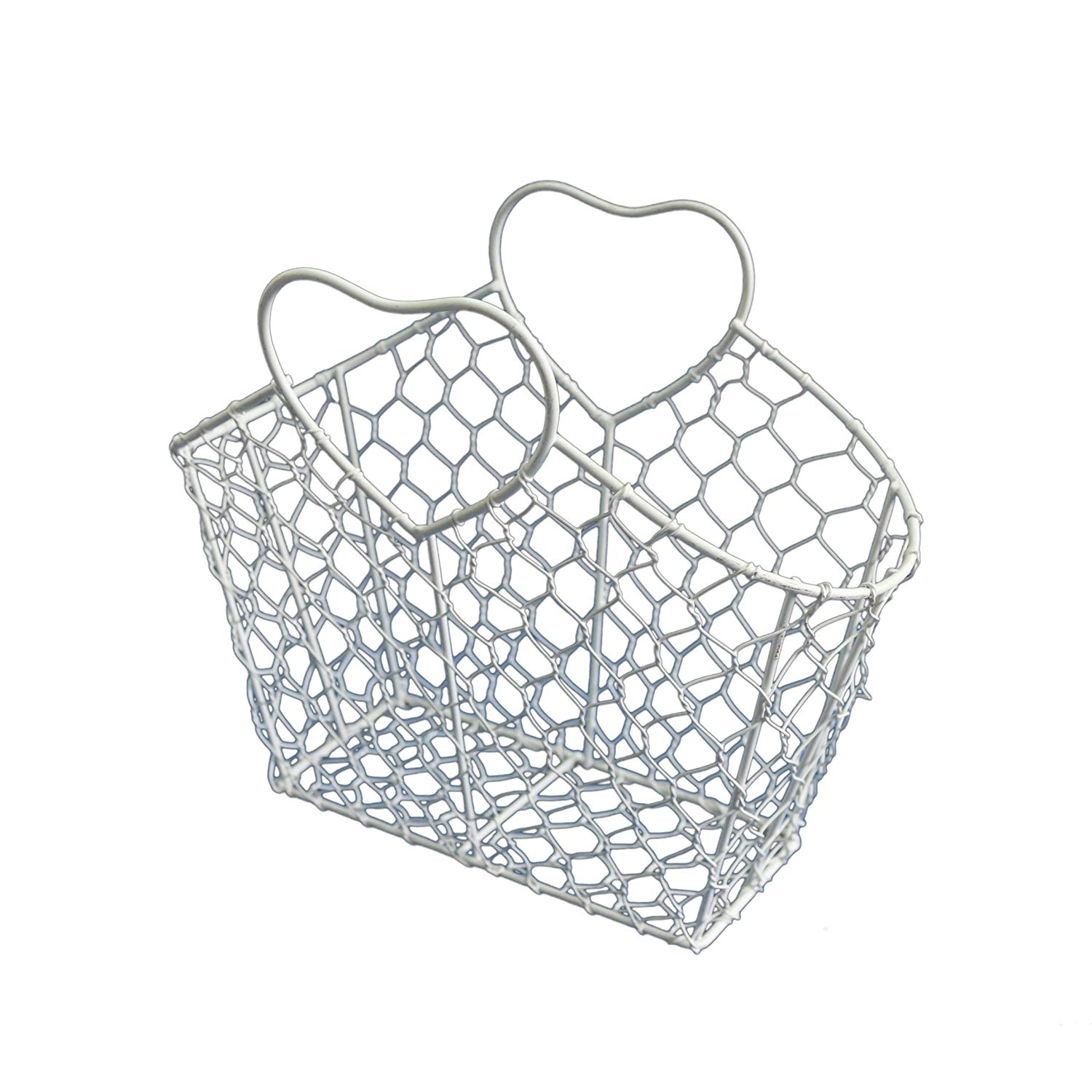 """CVHOMEDECO. Rectangle Metal Wire Egg Basket Chicken Wire Basket with Heart Shape Handle Country Vintage Style Storage Basket. White, 11-1/4""""L X 5-1/2""""W X 9-3/8""""H."""