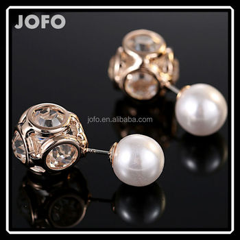 Double Sided Faux Pearl Earrings Studs Ball Beads Plug Uk