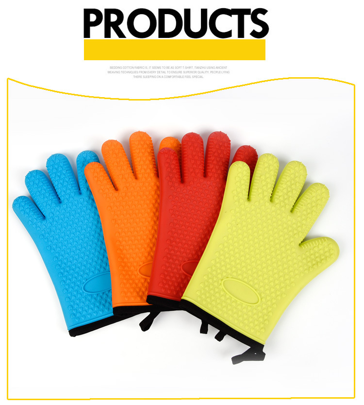 kitchenware 148g Potholder oven grill heat-resistant silicone barbeque gloves with fivefingers