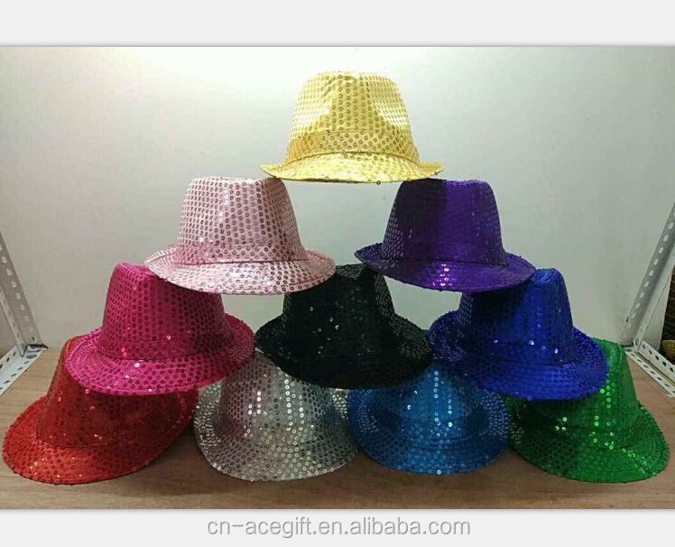 Home Led Fedora Hat Sequin Flashing Light Up Jazz Cap Costume Fancy Dress Adult Rose Red New Varieties Are Introduced One After Another