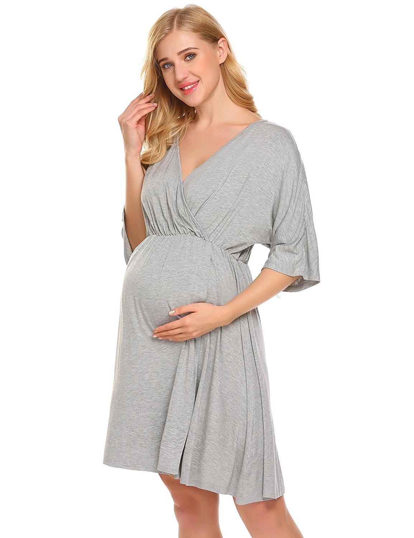 4ee34efb1cdab Get Quotations · Ekouaer Hospital Nightgown Pregnant Maternity Nursing  Breastfeeding Sleepwear