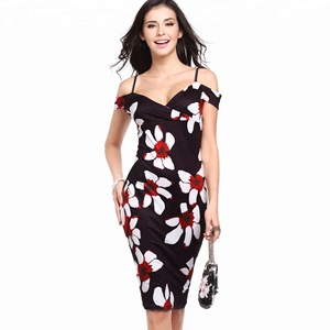 women casual printed spaghetti strap office dress wholesale ladies bodycon off shoulder pencil dresses 2018